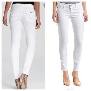 Hudson Collin Skinny Mid Flap Pocket White Jeans